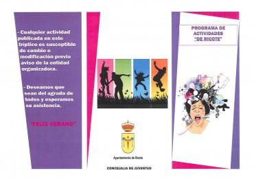 PROGRAMA DE ACTIVIDADES. VERANO 2014