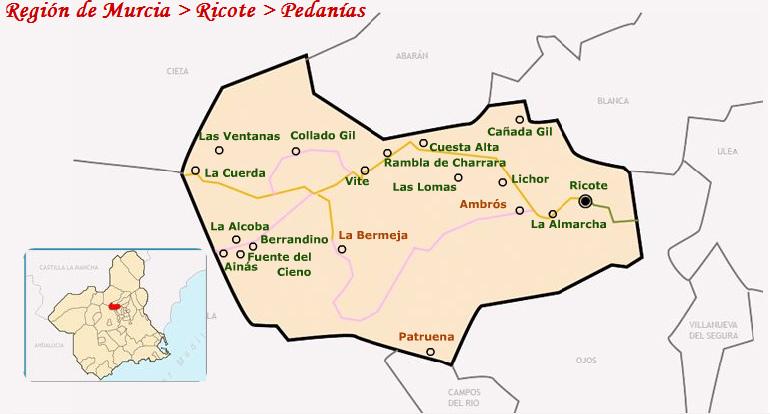 mapa pedanias ricote