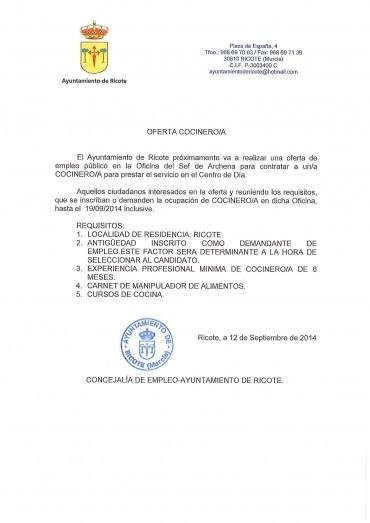 OFERTA EMPLEO COCINERO/A