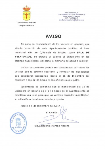 NOTA INFORMATIVA SALA DE VELATORIOS
