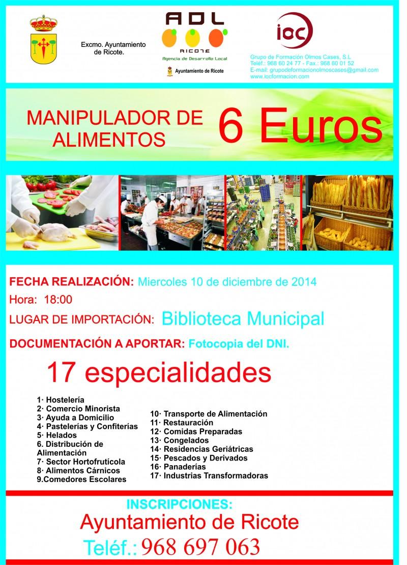 Manipulador de Alimentos de Ricote 10 de diciembre 2014
