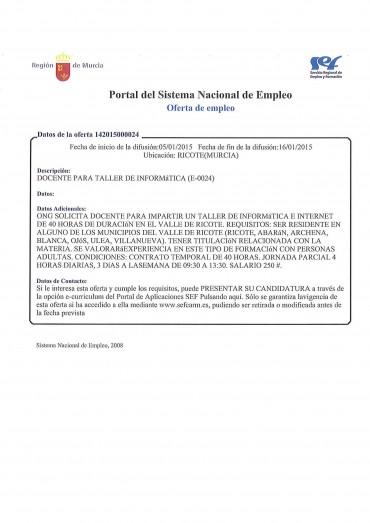OFERTA DE EMPLEO DOCENTE PARA TALLER DE INFORMATICA