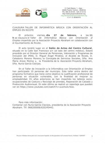 CLAUSURA TALLER INFORMÁTICA BÁSICA CON ORIENTACIÓN AL EMPLEO