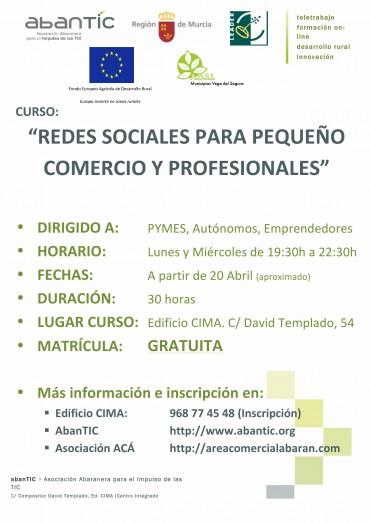 """CURSO: """"REDES SOCIALES PARA PEQUEÑO COMERCIO Y PROFESIONALES""""."""