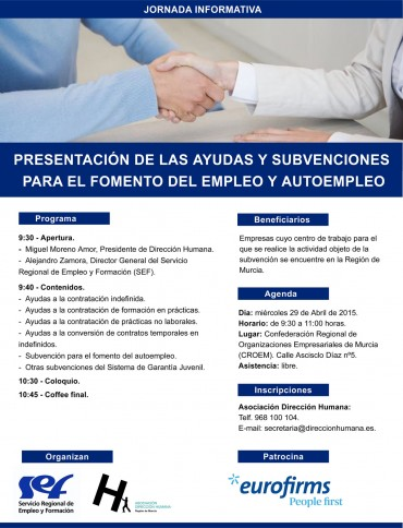 PRESENTACIÓN DE LAS AYUDAS Y SUBVENCIONES PARA EL FOMENTO DEL EMPLEO Y AUTOEMPLEO