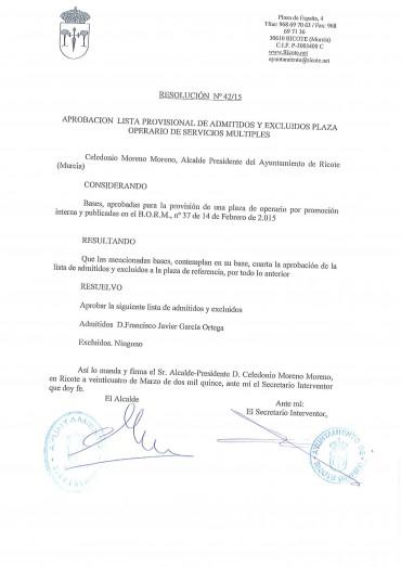 APROBACIÓN LISTA PROVISIONAL DE ADMITIDOS Y EXCLUIDOS PLAZA OPERARIO DE SERVICIOS MULTIPLES