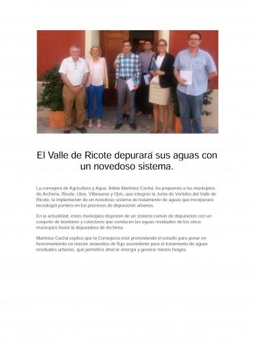 El Valle de Ricote depurará sus aguas con un novedoso sistema.
