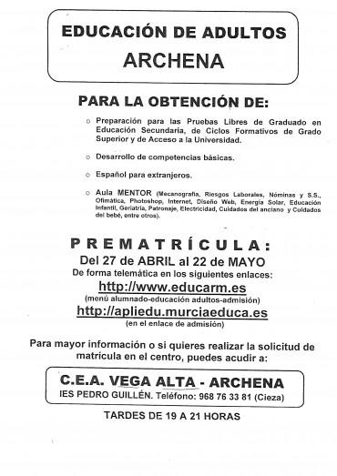 CENTRO DE EDUCACIÓN DE ADULTOS C.E.A VEGA ALTA-ARCHENA