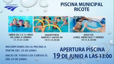 APERTURA PISCINA MUNICIPAL 19 DE JUNIO. 13:00 HORAS. ENTRADA GRATUITA