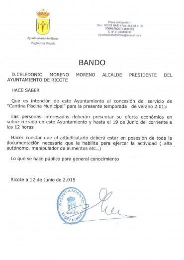 BANDO MUNICIPAL SERVICIO CANTINA PISCINA MUNICIPAL