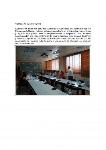 VISITA AL INFO DE LOS ALUMNOS DEL CURSO OPERACIONES AUXILIARES DE SERVICIOS ADMINISTRATIVOS Y GENERALES