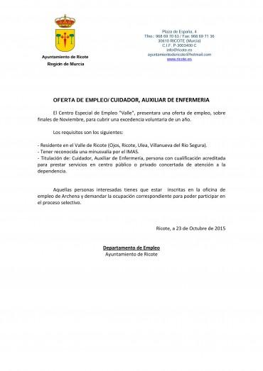 OFERTA DE EMPLEO CUIDADOR/A