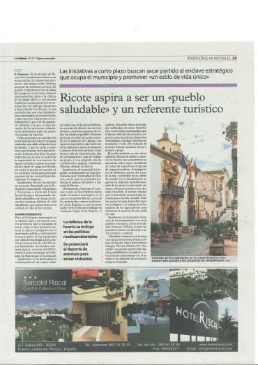 Especial del periódico La Verdad de Murcia del pasado viernes sobre los retos municipales.La foto del artículo es gentileza de Jesús el boni.