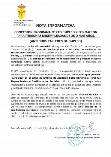 NOTA INFORMATIVA PROGRAMA MIXTO DE EMPLEO Y FORMACIÓN