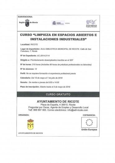 """CURSO """"LIMPIEZA EN ESPACIOS ABIERTOS DE INSTALACIONES INDUSTRIALES""""."""