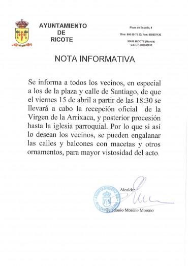 NOTA INFORMATIVA RECEPCIÓN OFICIAL VIRGEN DE LA ARRIXACA