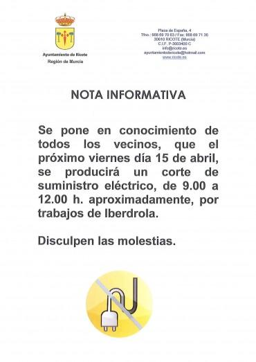 NOTA INFORMATIVA CORTE SUMINISTRO ELÉCTRICO