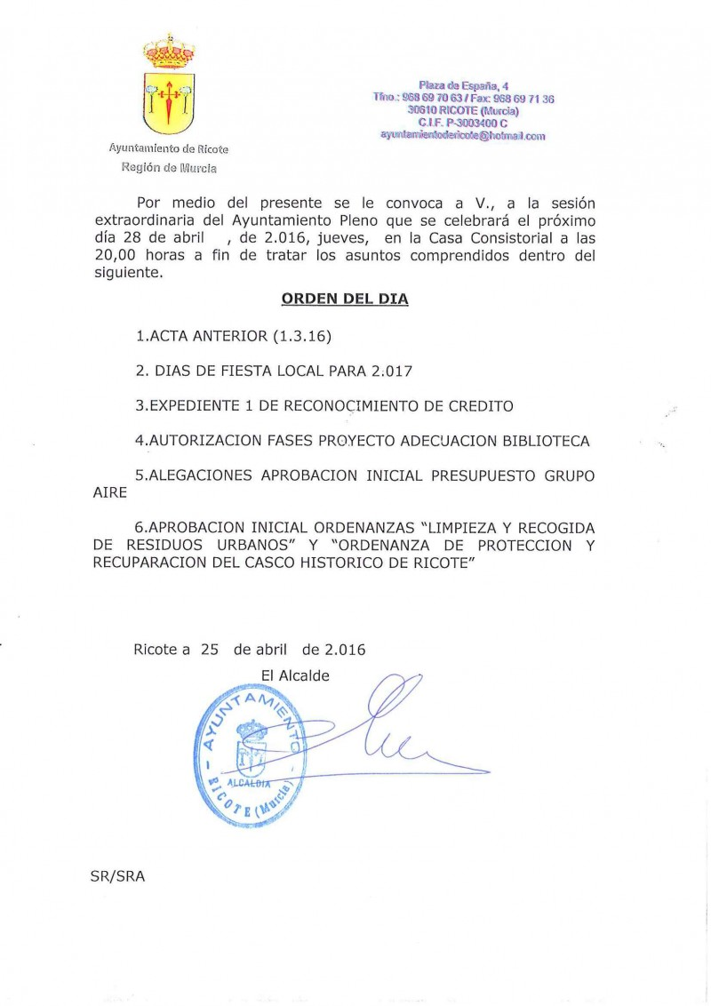Convocatoria de Pleno