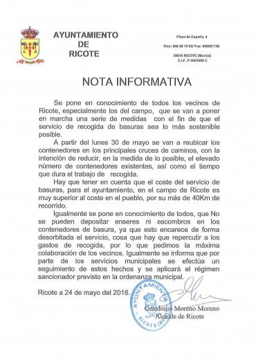 NOTA INFORMATIVA SERVICIO RECOGIDA BASURAS