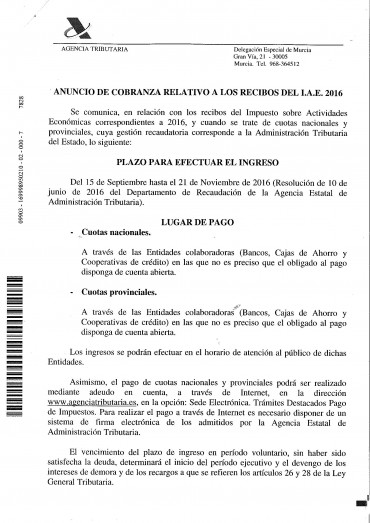 ANUNCIO DE COBRANZA RELATIVO A LOS RECIBOS DEL I.A.E. 2016