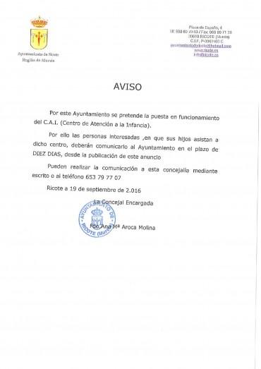 INSCRIPCIONES CENTRO DE ATENCIÓN A LA INFANCIA DE RICOTE