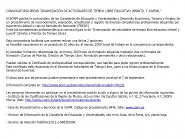 CONVOCATORIA PARA ACREDITACIÓN DE COMPETENCIAS PROFESIONALES (MONITOR DE TIEMPO LIBRE)