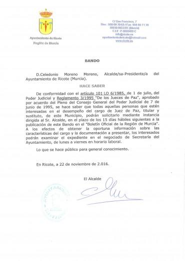 BANDO CONVOCATORIA JUEZ DE PAZ