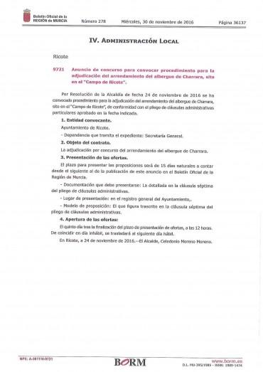 ANUNCIO CONCURSO PARA CONVOCAR ADJUDICACIÓN DEL ARRENDAMIENTO DEL ALBERGUE DE CHARRARA.