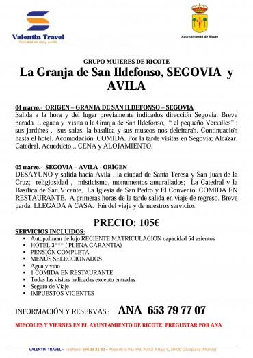 VIAJE CULTURAL LA GRANJA DE SAN IDELFONSO, SEGOVIA Y AVILA. SEMANA DE LA MUJER