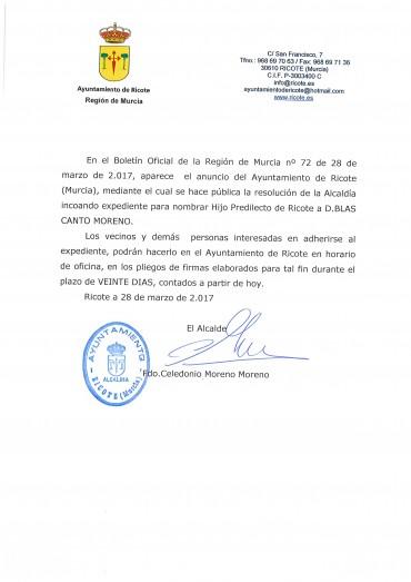 D.BLAS CANTO MORENO HIJO PREDILECTO DE RICOTE