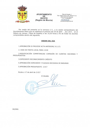 CONVOCATORIA PLENO