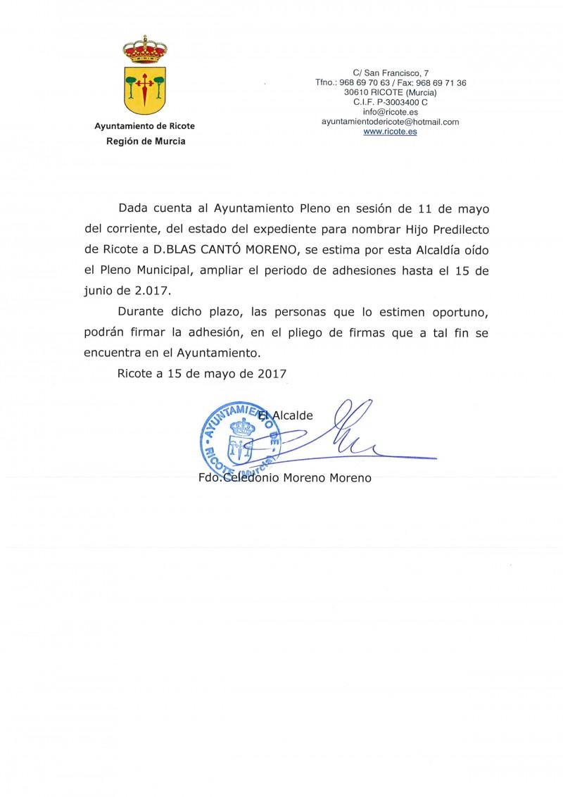 AMPLIACIÓN DEL PLAZO DE RECOGIDA DE FIRMAS HIJO PREDILECTO D. BLAS CANTÓ MORENO