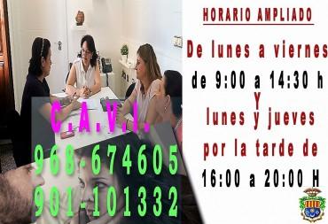 El CAVI de Archena/Valle de Ricote amplía su horario de atención al público