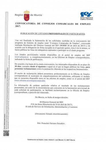LISTADOS PROVISIONALES CONSEJOS COMARCALES DE EMPLEO