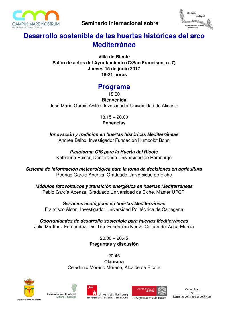 Seminario internacional sobre desarrollo sostenible de las huertas del arco mediterráneo