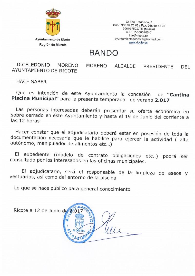 BANDO CONCESIÓN CANTINA PISCINA MUNICIPAL