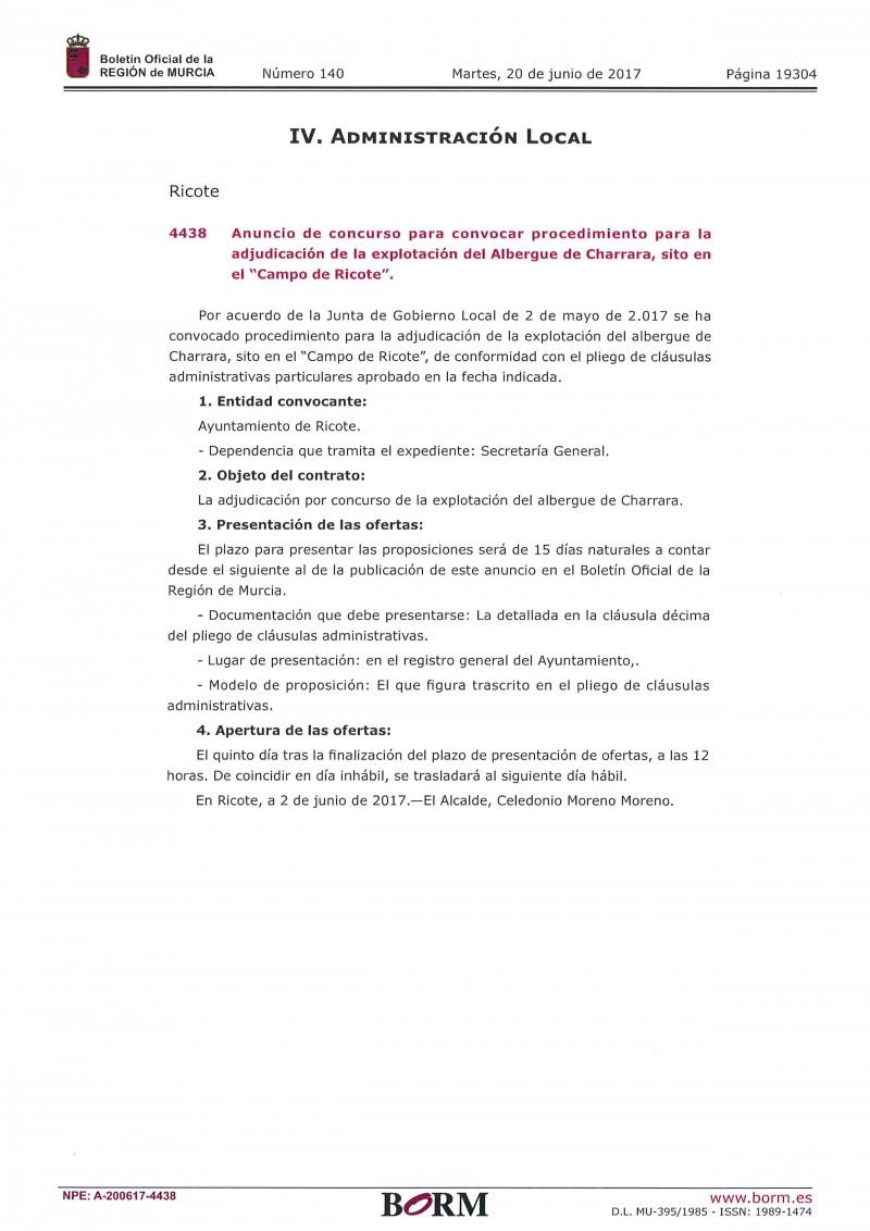 ANUNCIO CONCURSO ADJUDICACIÓN EXPLOTACIÓN ALBERGUE DE CHARRARA