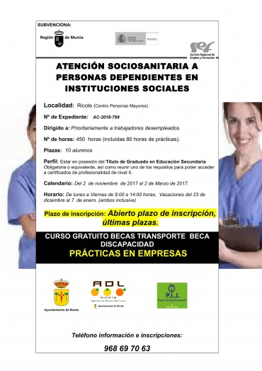 CURSO ATENCIÓN SOCIOSANITARIA A PERSONAS DEPENDIENTES EN INSTITUCIONES SOCIALES
