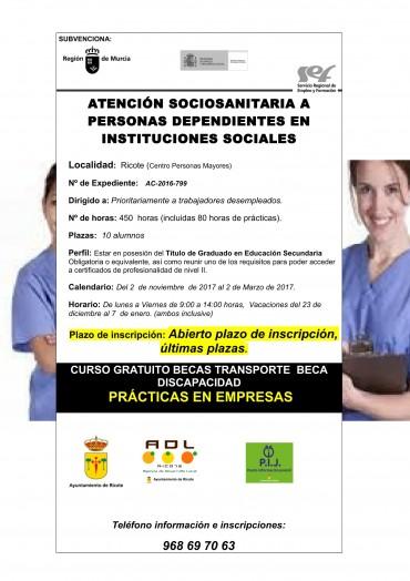 CURSO ATENCIÓN SOCIOSANITARIA A PERSONAS DEPENDIENTES EN INSTITUCIONES SOCIALES