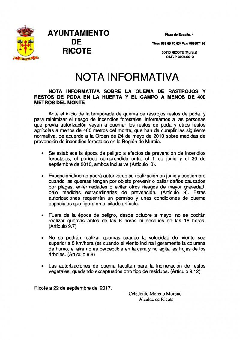 NOTA INFORMATIVA QUEMA DE RASTROJOS