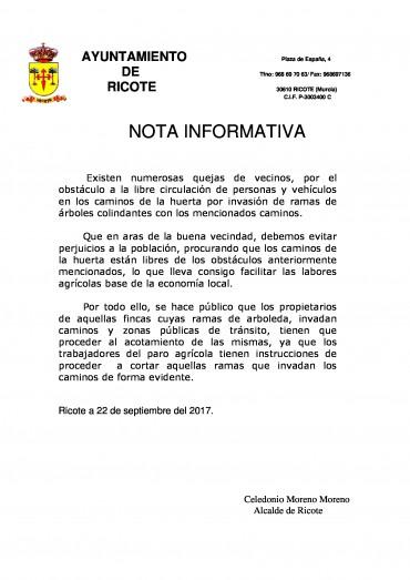 NOTA INFORMATIVA RAMAS EN LOS CAMINOS DE LA HUERTA