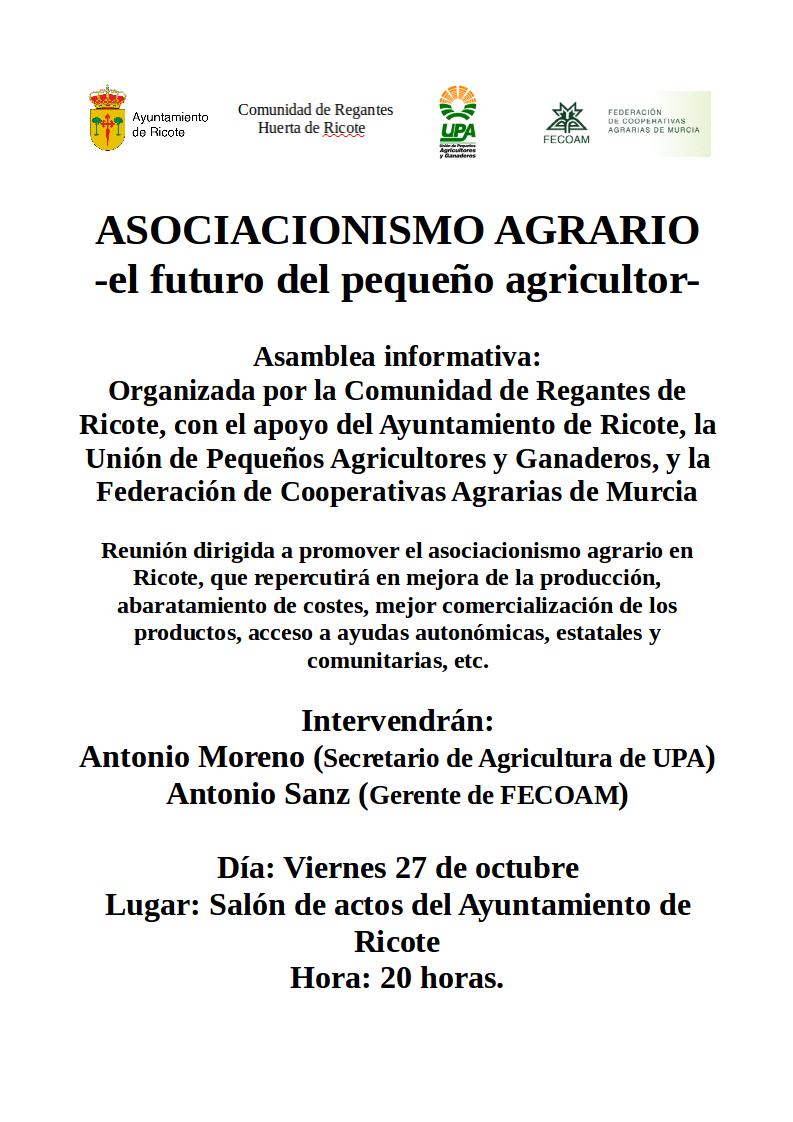 Asociacionismo agrario: convocatoria de asamblea informativa