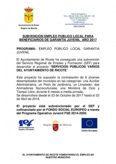 EMPLEO PUBLICO LOCAL PARA BENEFICIARIOS DE GARANTIA JUVENIL 2017