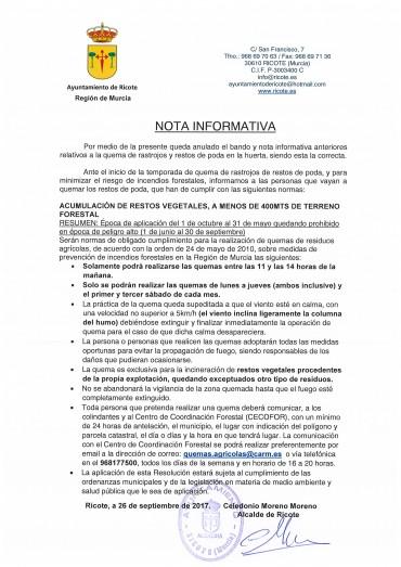 NOTA INFORMATIVA QUEMA DE RASTROJOS DE RESTOS DE PODA