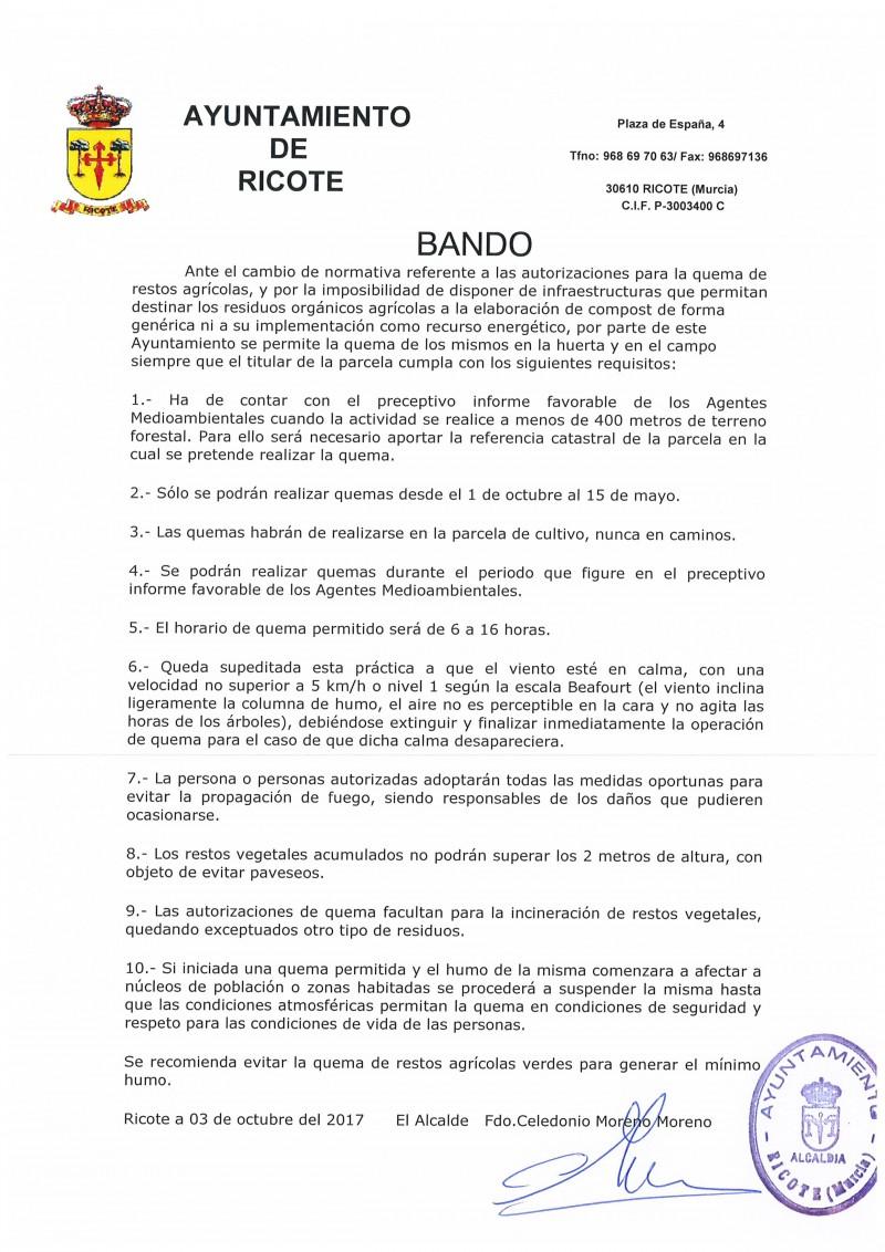 BANDO AUTORIZACIONES QUEMA DE RESTOS AGRÍCOLAS