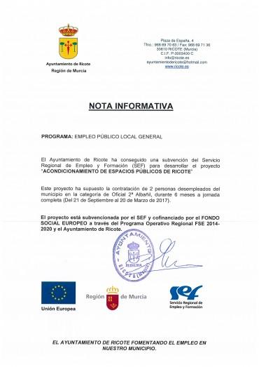 2 desempleados contratados como Oficiales 2ª Albañil para acondicionar espacios públicos de Ricote.