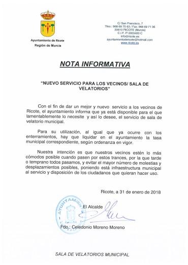 NOTA INFORMATIVA NUEVO SERVICIO SALA VELATORIOS MUNICIPAL