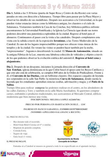 """""""VIAJE DE LA MUJER"""" RICOTE 2018"""