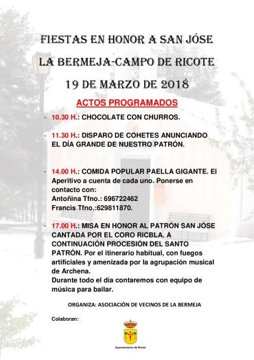 Fiestas en honor a San Jóse en la Pedanía de La Bermeja 2018.