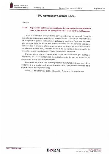 APERTURA PLAZO DE ADJUDICACIÓN  DE PELUQUERÍA SOCIAL EN LOCAL CENTRO DE MAYORES